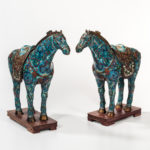 Pair of Cloisonne Horses with Stands, China, 19th/20th century (Lot 1277, Estimate: $800-1,000)