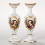 Pair of Bristol Glass Portrait Vases, England, 19th century (Lot 1545, Estimate: $200-300)