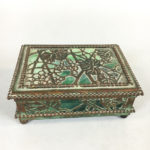 Art Nouveau Tiffany Studios Metal Overlay Green Slag Box (Lot 1604, Estimate: $200-300)