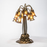Tiffany Studios Ten-light Bronze Water Lily Table Lamp (Lot 1, Estimate: $8,000-10,000)