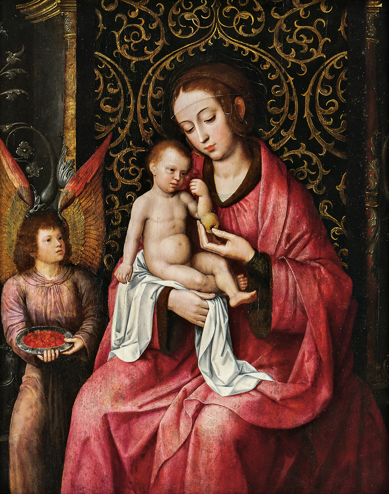 School of Ambrosius Benson (Flemish, c. 1495-1550), Virgin and Child with Angel and Bowl of Cherries (Lot 201, Estimate: $20,000-30,000)