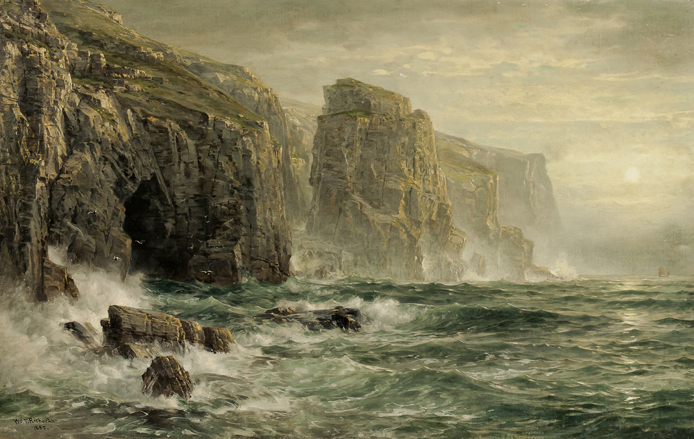 William Trost Richards (American, 1833-1905), The Shores of Bude, Cornwall, alternatively titled Coast of Cornwall (Lot 234, Estimate: $20,000-40,000)