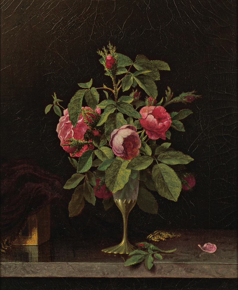 Martin Johnson Heade (American, 1819-1904), Pink Roses in a Fragile Vase (Lot 246, Estimate: $30,000-50,000)