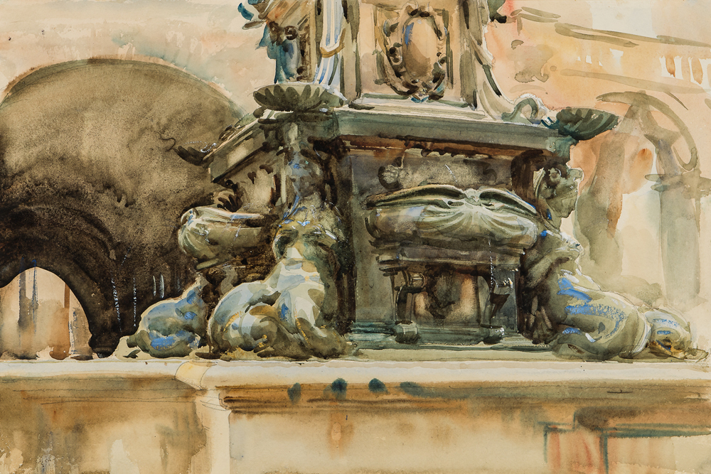 John Singer Sargent (American, 1856-1925), Bologna Fountain (Lot 321, Estimate: $50,000-70,000)