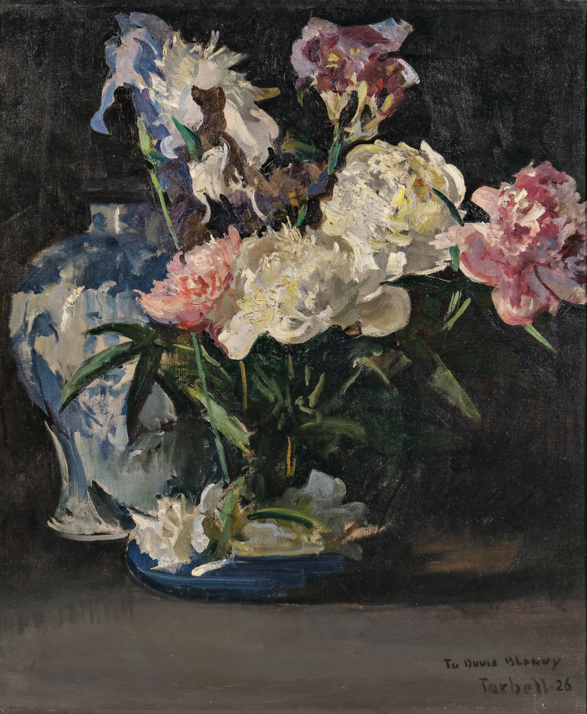 Edmund Charles Tarbell (American, 1862-1938), Peonies and Iris (Lot 355, Estimate: $20,000-30,000)