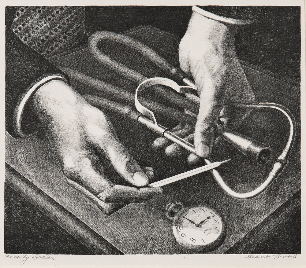 Grant Wood (American, 1891-1942) Family Doctor, 1941 (Lot 52, Estimate: $3,000-5,000)