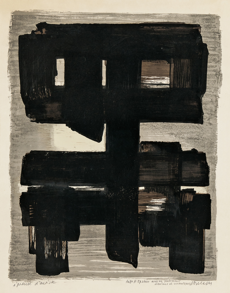 Pierre Soulages (French, b. 1919) Lithographie no 1, 1957 (Lot 98, Estimate: $5,000-7,000)