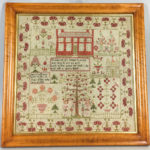 Framed Ann Cheetherns Adam and Even Needlework Sampler (Lot 68, Estimate: $300-500)