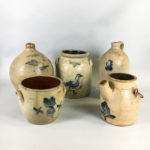Five Cobalt-decorated Stoneware Vessels (Lot 250, Estimate: $300-500)