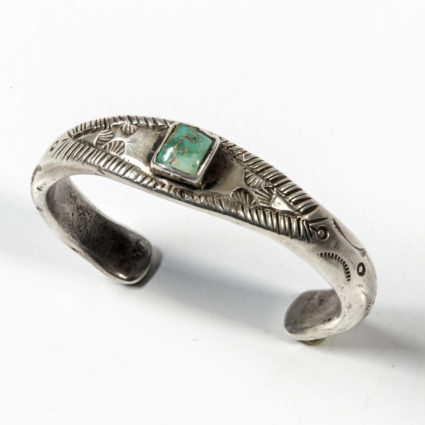 Navajo Silver and Turquoise Bracelet, c. 1900-10s