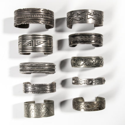 Ten Southwest Silver Band Cuff Bracelets