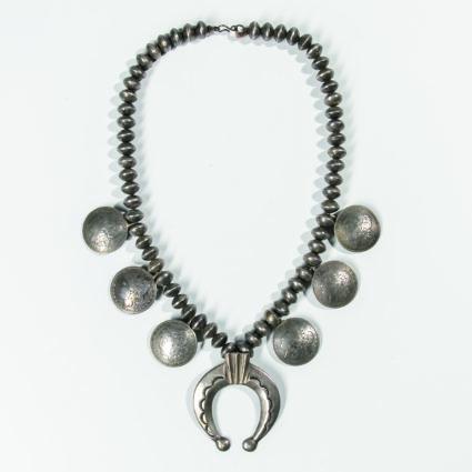 Navajo Mercury Dime and Silver Dollar Necklace