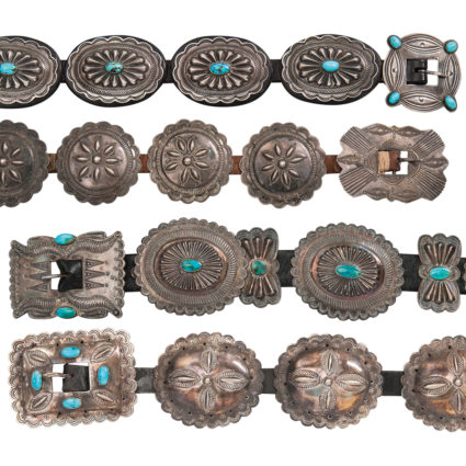 Two Southwest Silver and Turquoise Concha Belts, Navajo, mid-20th century