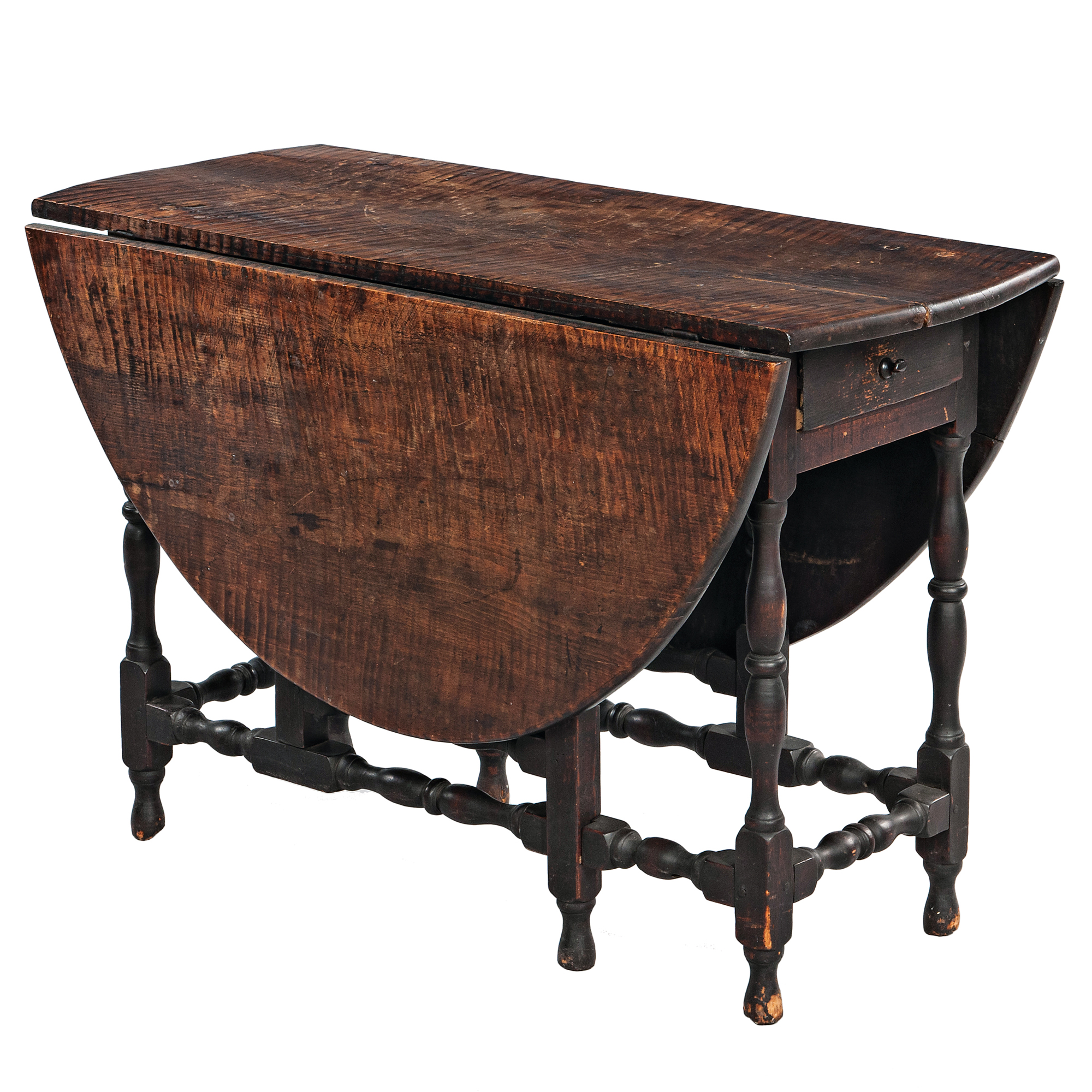 Black-painted Tiger Maple One-drawer Gate-leg Table (Lot 1000, Estimate: $4,000-6,000)