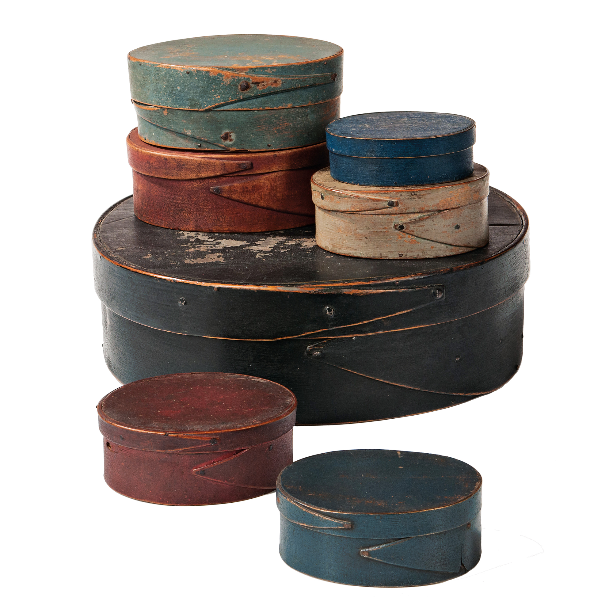 Stack of Seven Painted Pantry Boxes (Lot 1011, Estimate: $1,000-1,500)