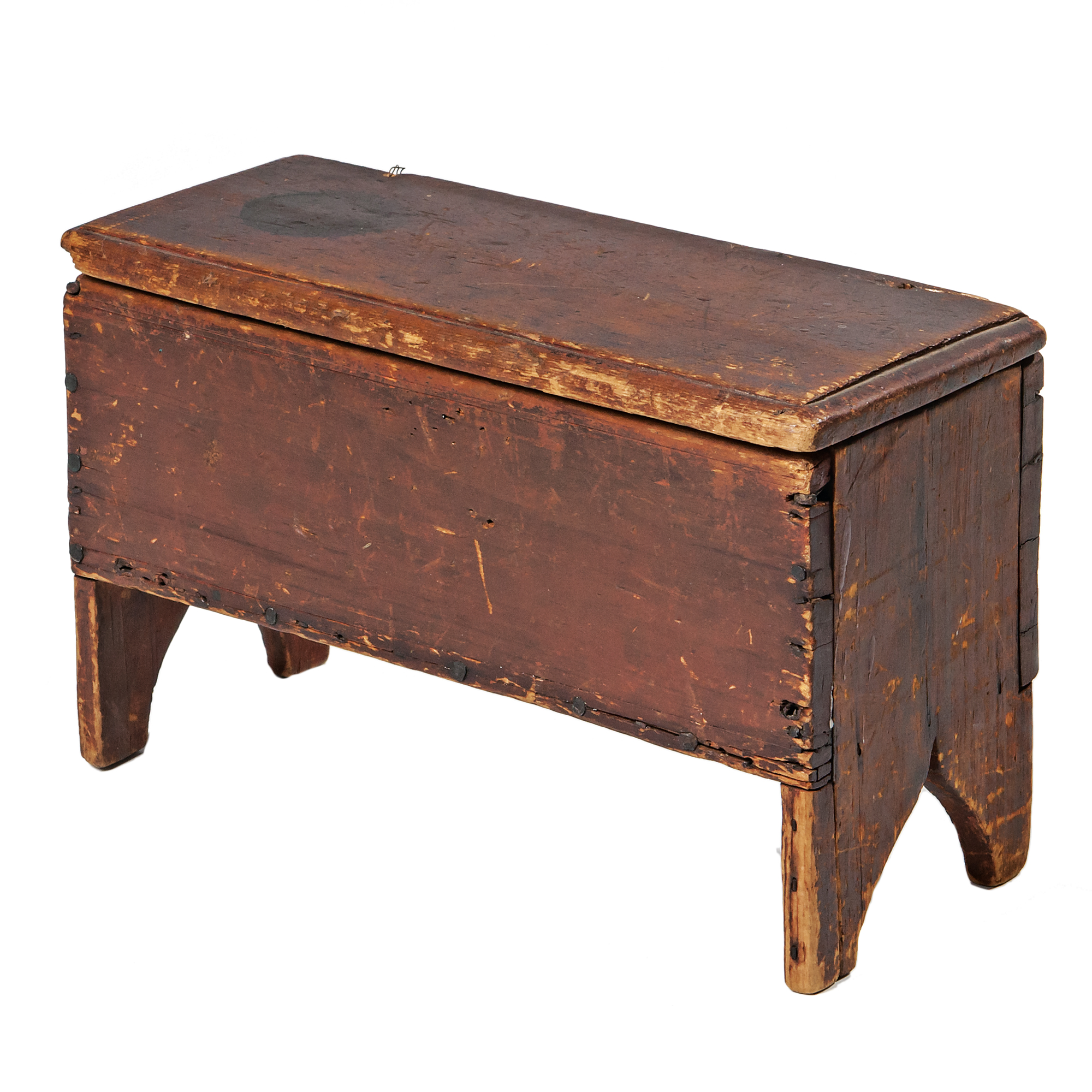 Miniature Red-stained Six-board Chest (Lot 1088, Estimate: $400-600)