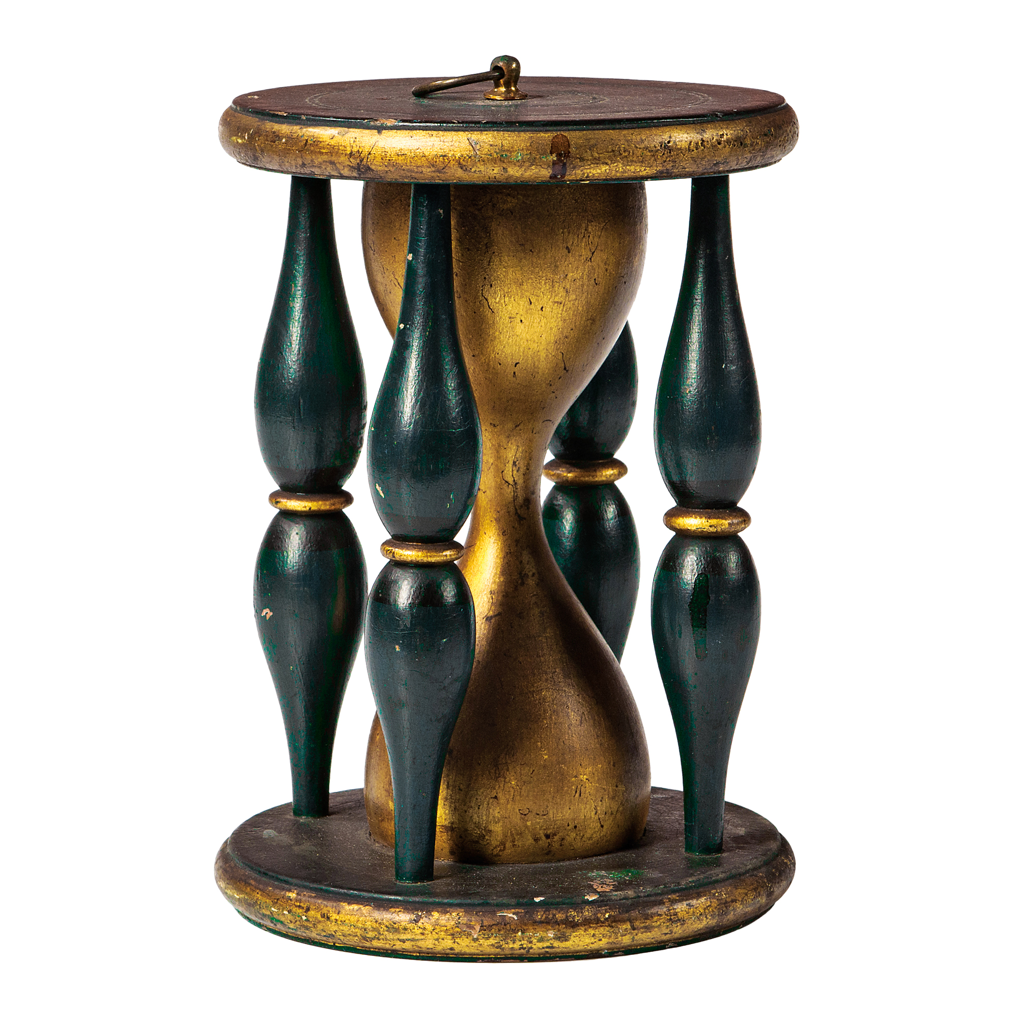 Green- and Gold-painted Wood Odd Fellows Hourglass (Lot 1787, Estimate: $400-600)