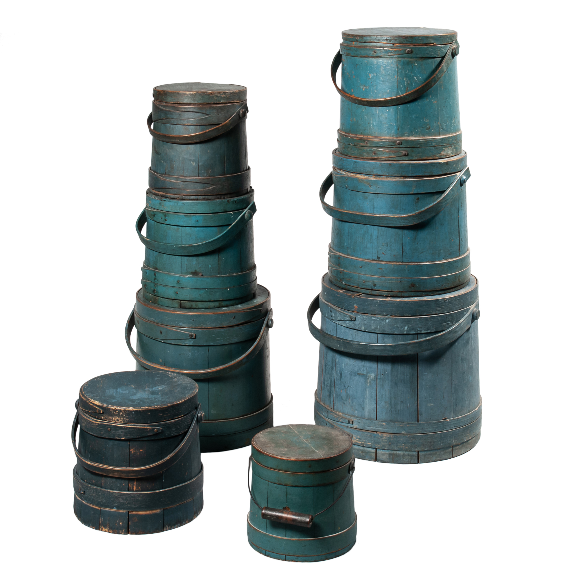 Stack of Eight Blue-painted Lidded Pails (Lot 1718, Estimate: $800-1,200)