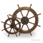 Two Early Wooden Ship Wheels (Lot 1579, Estimate: $300-400)
