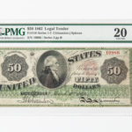 1862 $50 Legal Tender Note, Fr. 148, PMG Very Fine 20 (Lot 1289, Estimate: $15,000-25,000)