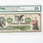 1862 $10 Legal Tender Note, Fr. 93, PMG About Uncirculated 55 (Lot 1286, Estimate: $4,000-6,000)