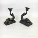 Two Wedgwood Black Basalt Dolphin Candlesticks (Lot 1020, Estimate: $20-200)
