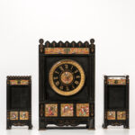 Gilt and Hand-painted Belgian Slate Clock Garniture Set (Lot 1240, Estimate: $200-250)