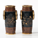 Pair of Mixed Metal Gilt-bronze and Gilt-silver Vases, Japan, Meiji period (Lot 378, Estimate: $4,000-6,000)