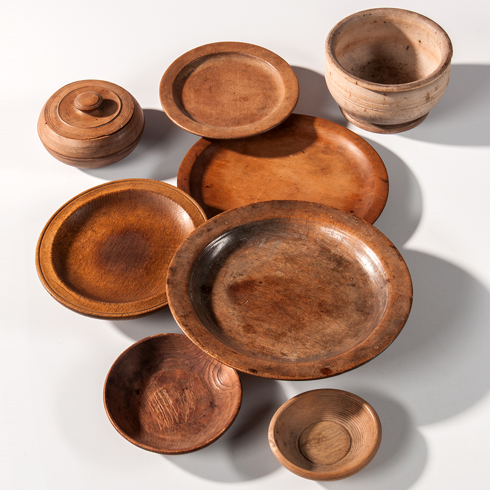 Eight Treen Table Items, 18th/19th century (Estimate: $600-900)