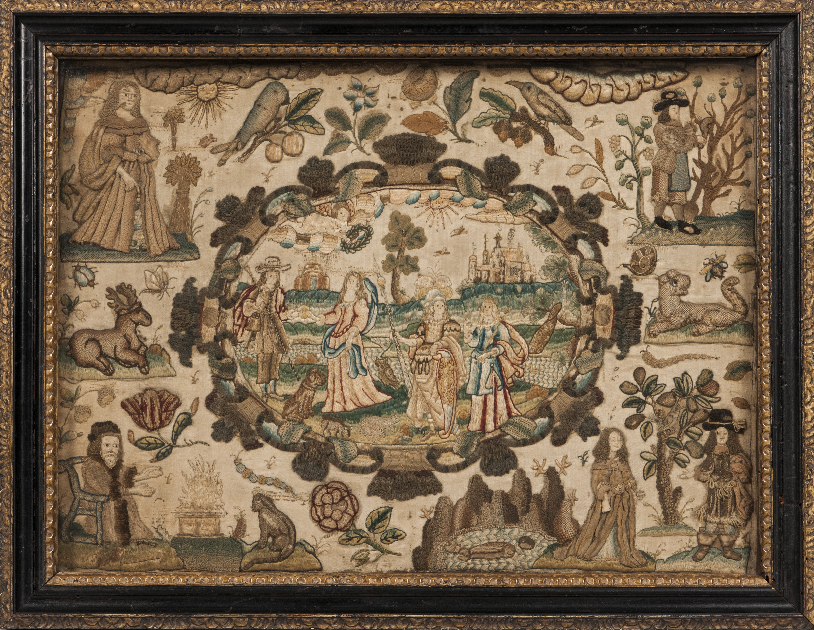 Stumpwork Picture with the Four Seasons, England, 17th century (Estimate: $2,500-3,500)
