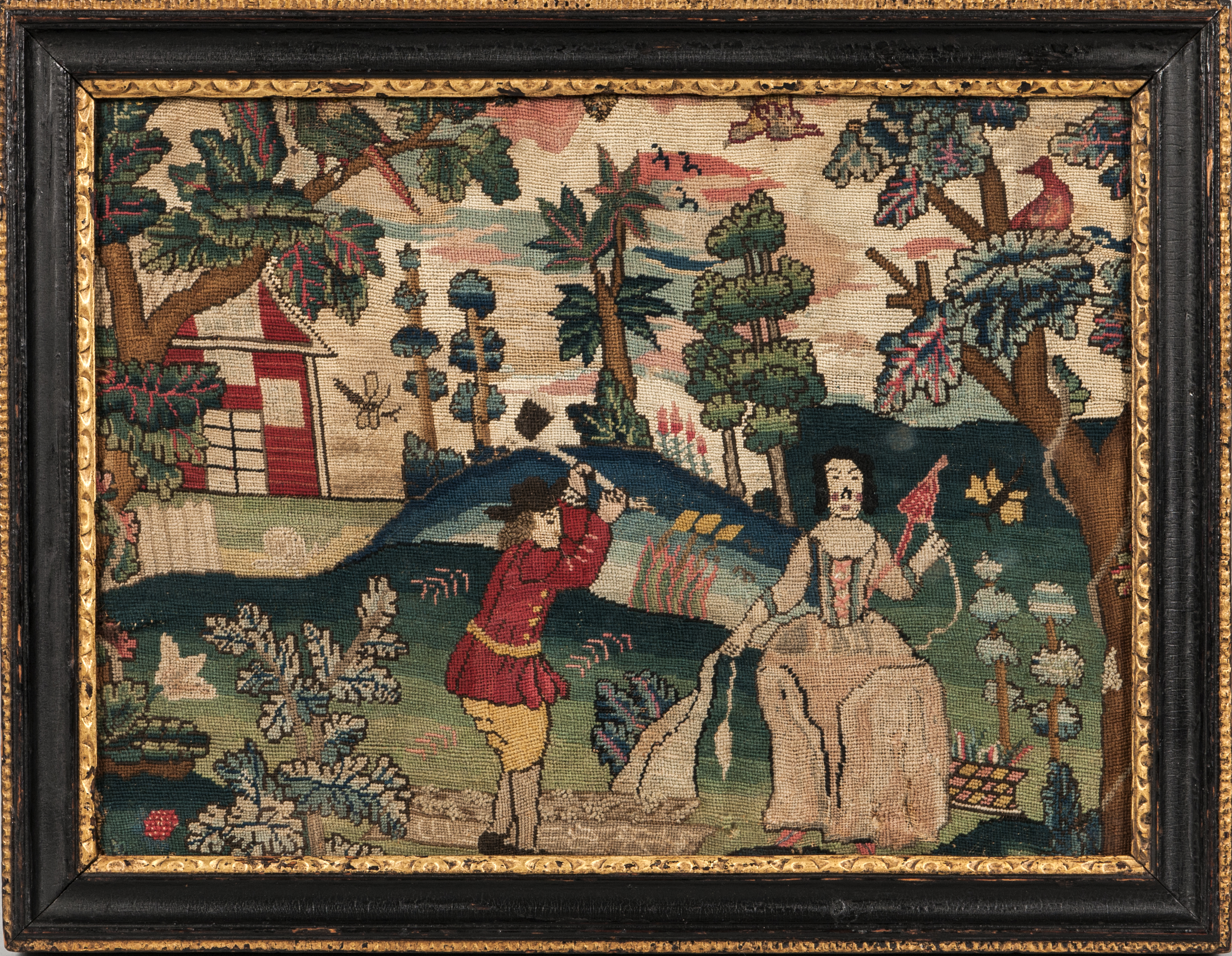 Needlwork Allegorical Picture, England, early 18th century (Estimate: $3,000-5,000)
