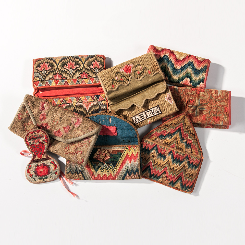 A Group of Needlework Wallets, 18th century