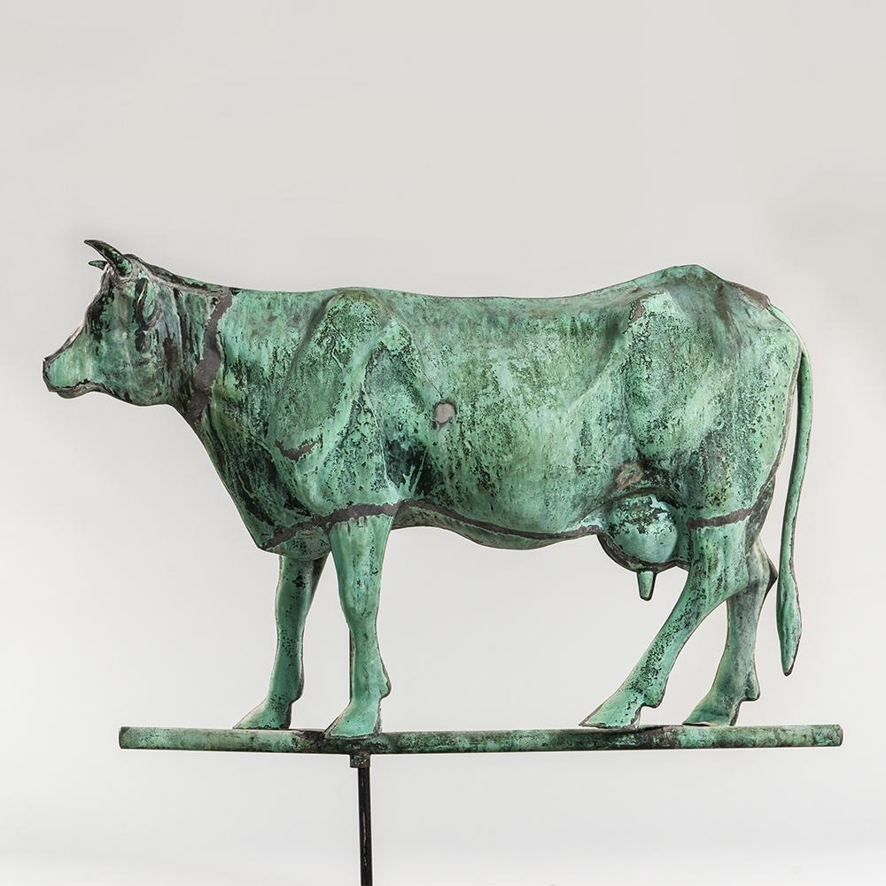 Large Molded Copper Short-horned Jersey Cow Weathervane,  J.W. Fiske, New York, c. 1896 (Estimate: $15,000-25,000)