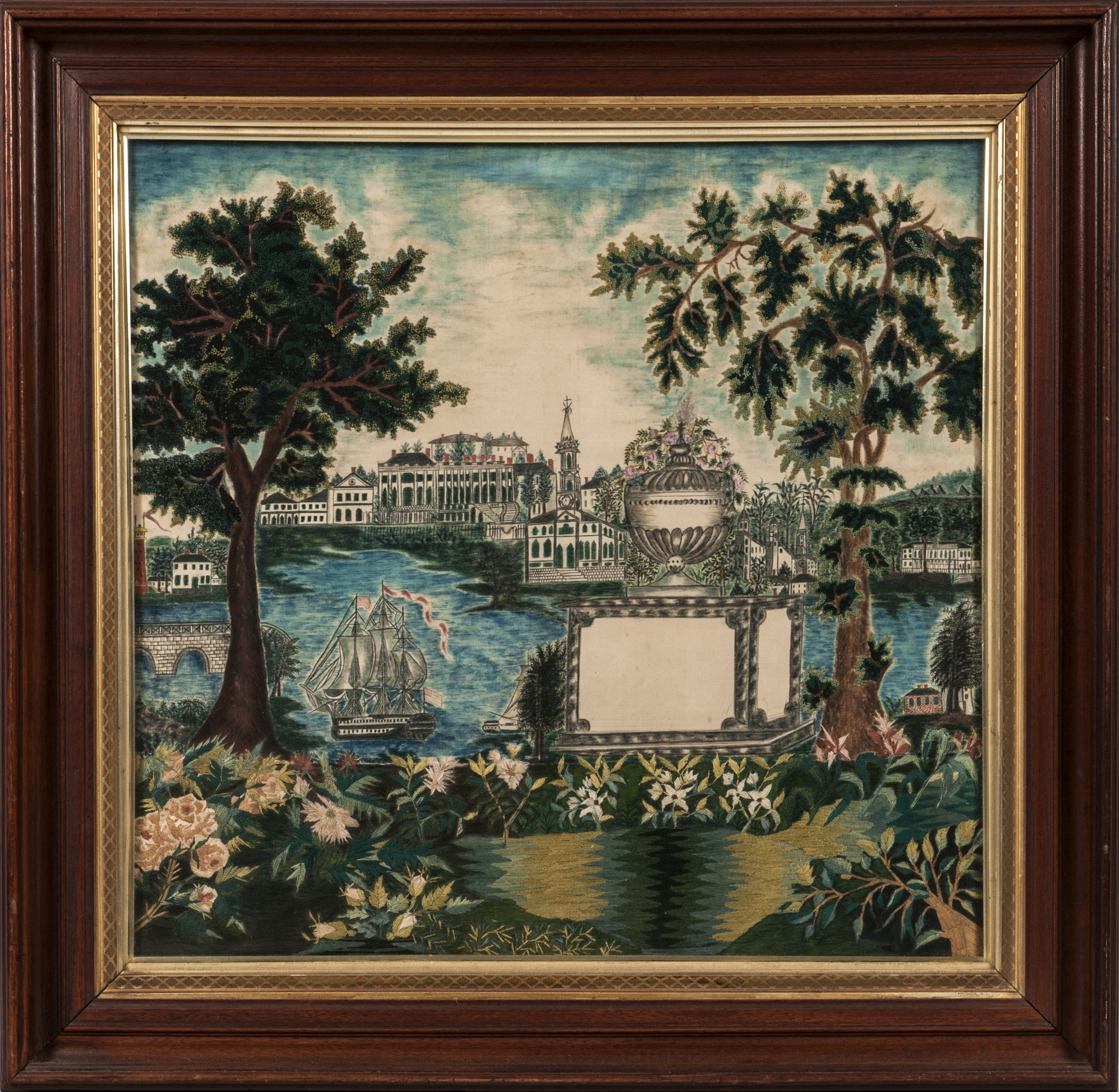 Painted and Embroidered Silk Mournig Picture, Anonymous, ME, circa. 1830 (Estimate: $3,000-5,000)