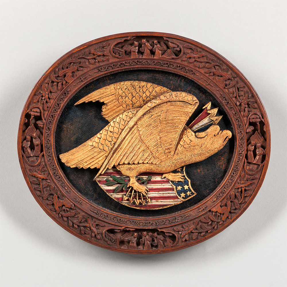 Carved, Painted, and Gilt Oval Plaque, China, c. 1850-75 (Estimate: $4,000-6,000)