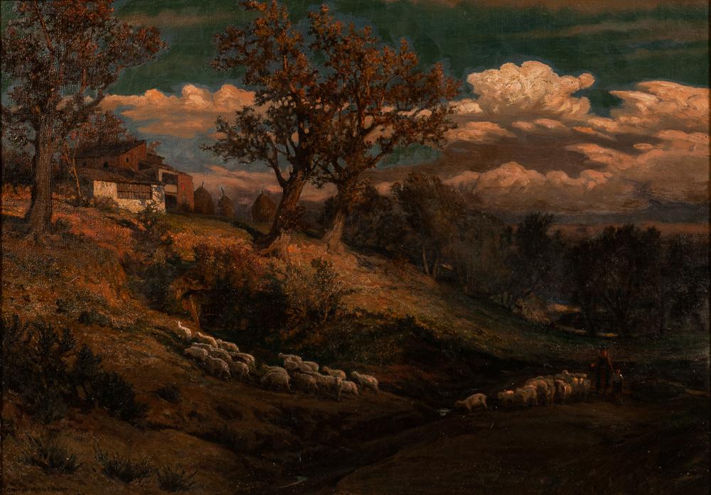 Elihu Vedder (American, 1836-1923), Hillside with Sheep, Perugia (Lot 275, Estimate: $20,000-30,000)