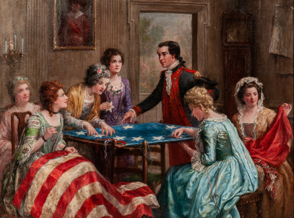 Jennie Augusta Brownscombe (American, 1850-1936), Sewing the Flag (Lot 418, Estimate: $10,000-15,000)