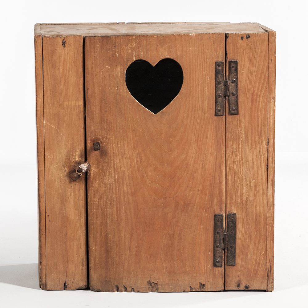 Pine Hanging Wall Cupboard with Heart Cutout