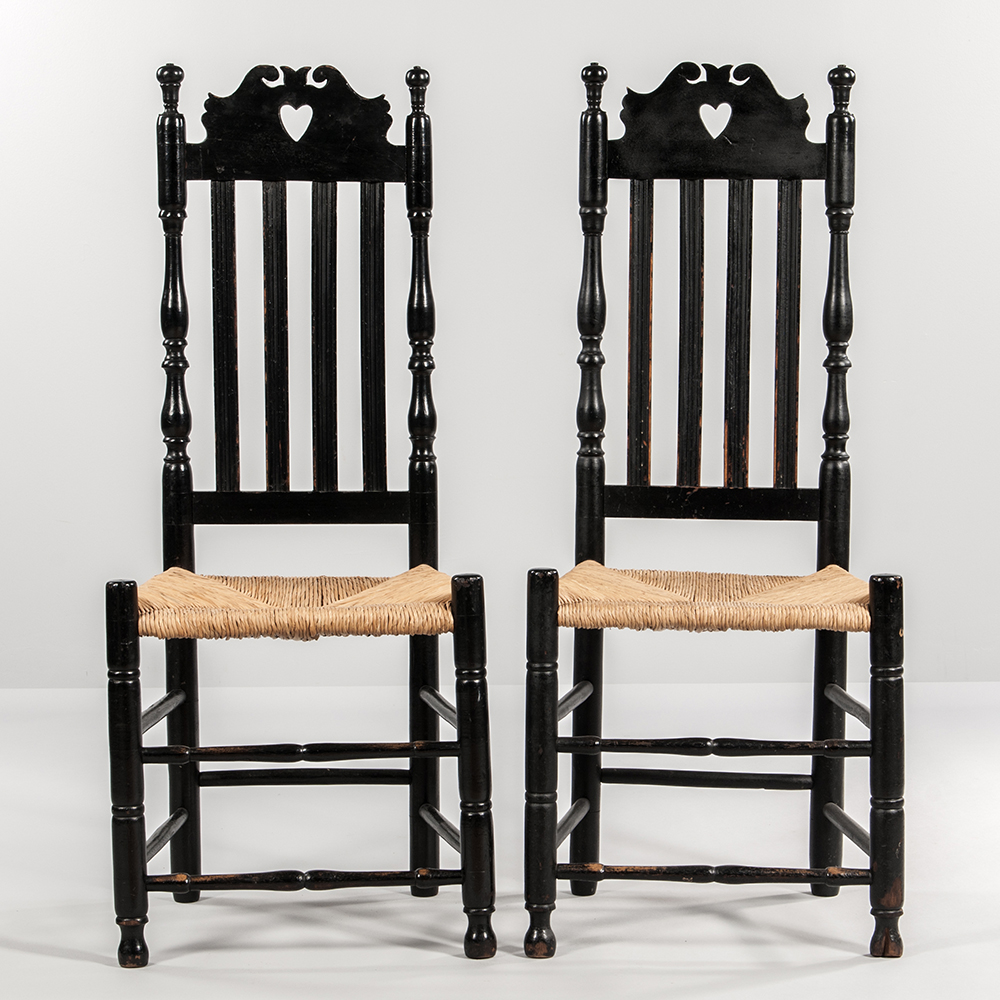Pair of Heart and Crown Bannister-back Chairs