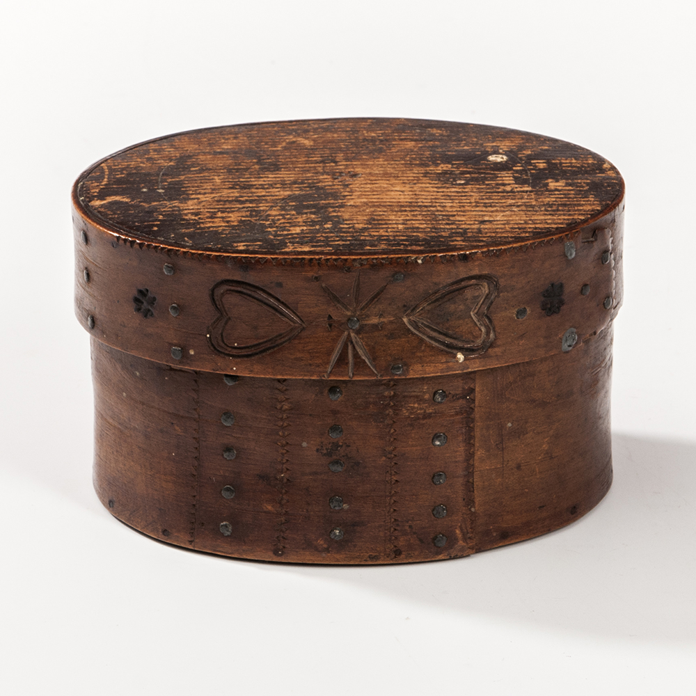 Carved and Heart-decorated Oval Box