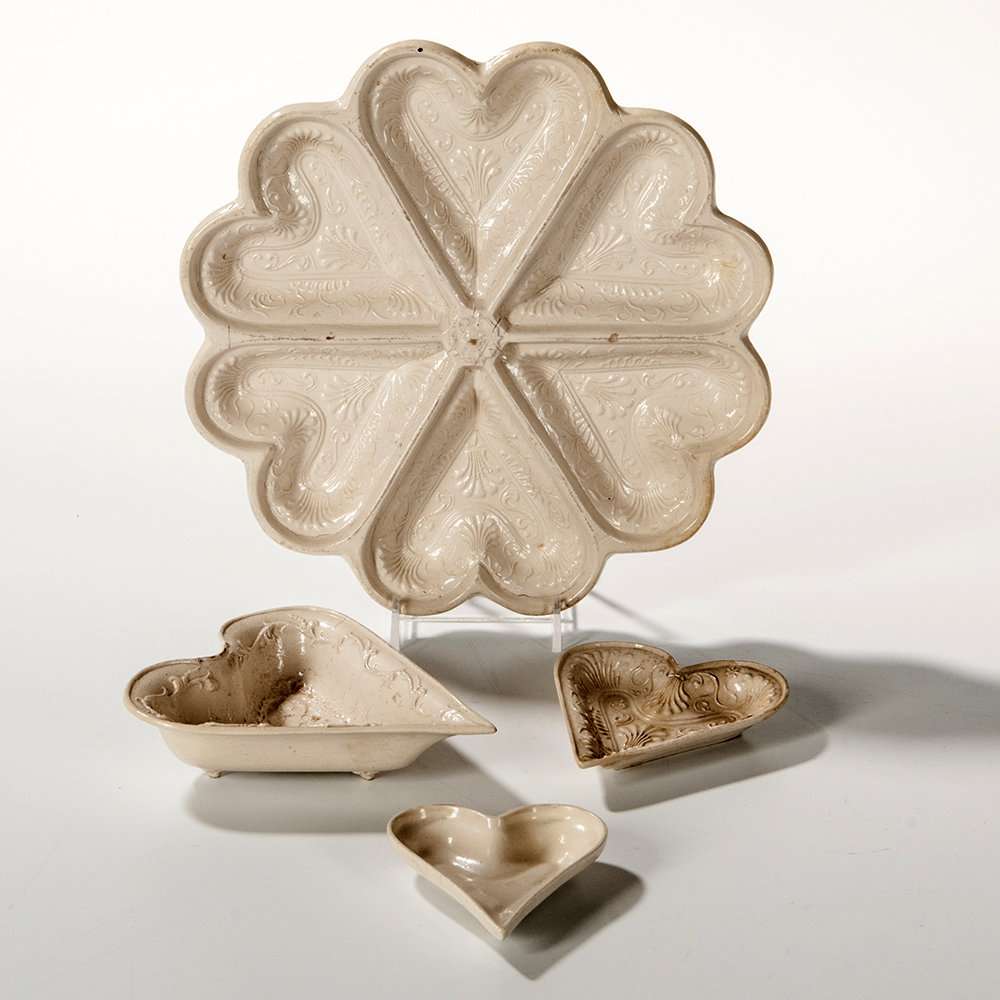 Staffordshire Stoneware Heart-form Pastry Molds