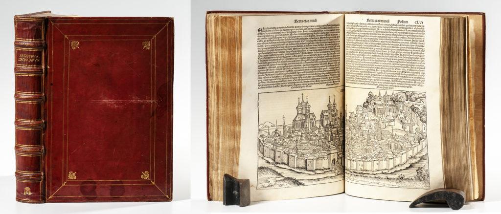 Schedel, Hartmann (1440-1514) Registrum huius Operis Libri Cronicarum cum Figuris et Ymaginibus ab Inicio Mundi, [Liber Chronicarum, Nuremberg Chronicle]. Nuremberg: Antong Koberger, 12 July 1493. Sold for $61,500.