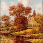 George W. Drew (American, 1875-1968) <i>Autumn Pond</i>. (Lot 1227, Estimate: $400-600)
