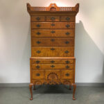 Eldred Wheeler Dunlap School Queen Anne-style Carved Tiger Maple High Chest (Lot 1526, Estimate: $1,000-1,500)