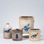 Four Cobalt-decorated Stoneware Items, America, 19th century (Lot 1033, Estimate: $300-500)