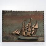 Sailing Ship Painted Diorama Plaque, America, late 19th century (Lot 1196, Estimate: $300-500)