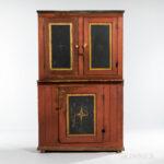 Paint-decorated Harmonist or Harmonite Cupboard, Pennsylvania, c. 1825 (Lot 1589, Estimate: $2,000-3,000)