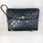 Chanel Black Leather Quilted Handbag (Lot 1201, Estimate: $500-700)