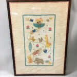 Framed Appliqued Cotton Crib Quilt with Noah