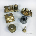 Five Early Brass and Pewter Inkwells and Ink Stands (Lot 1238, Estimate: $200-400)